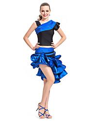 dancewear satén / spandex traje de baile latino rendimiento para damas