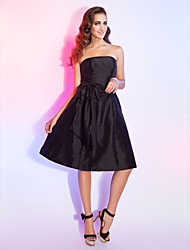 Cocktail Party Dress - Black Plus Sizes A-line/Princess Strapless Knee-length Taffeta