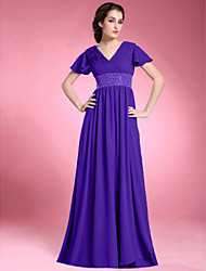 LAN TING BRIDE A-line Plus Size Petite Mother of the Bride Dress - Elegant Floor-length Short Sleeve Chiffon withBeading Draping Criss