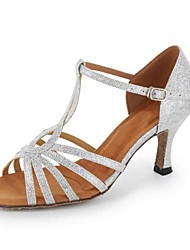 Customized Women's Sparkling Glitter T-Strap With Buckle Latin / Ballroom Dance Shoes(More Colors)