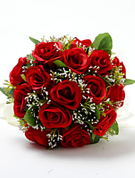 "Wedding Flowers Round Roses Bouquets Wedding Red Satin / Cotton Red 9.84""(Approx.25cm)"