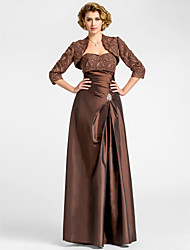 A-line Plus Sizes Mother of the Bride Dress - Chocolate Floor-length 3/4 Length Sleeve Taffeta/Lace