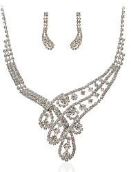 Marvelous Czech Rhinestones Alloy Plated Wedding Jewelry Set,Including Necklace And Earrings