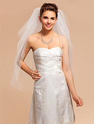 Four-tier Fingertip Wedding Veil With Cut Edge