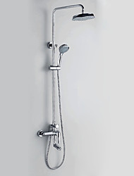 Chrome Finish Contemporary Style Wall Mounted Shower Faucets with Diameter 20cm Shower Head + Hand Shower