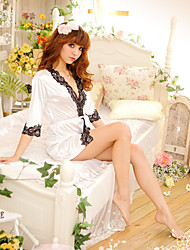 Women's Cute Lace Splicing Satin Robe with T-back
