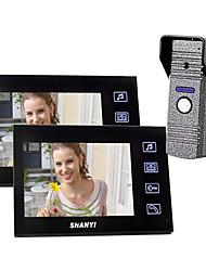 """7 """"couleur Portier vidéo avec enregistrement SD Picture Card, la prise de photos (1 à 2 Caméra Moniteur)"""