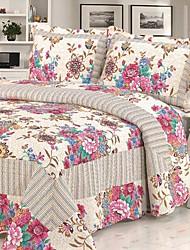 3 peças retro floral de algodão lavado conjunto quilt