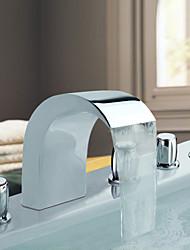 Chrome Fini Acier inoxydable généralisées contemporaines Robinets de baignoire de style avec robinet portable