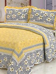 3 pcs amarelo floral de algodão lavado conjunto quilt