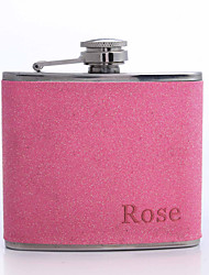 Personalized Father's Day Gift 5oz PU Leather Flask (Rose,Pink,Blue,Purple)