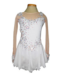 Dumb Light Spandex Elasticated Net Lace Flowers Figure Skating Clothing White