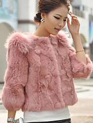 Women's Coat,Solid ¾ Sleeve Winter Pink / Beige / Black / Orange / Yellow Thick
