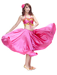 Belly Dance Outfits Women's Training Satin Coins Fuchsia / Green / Orange / Purple / Red / Royal Blue / White Belly Dance Sleeveless