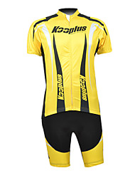 Kooplus 100% Polyester Short Sleeve Quick Dry Mens BIB Short Cycling Suits(Black And Yellow)