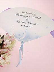 Personalizado Pérola ventilador de mão de papel - Romance azul (conjunto de 12)