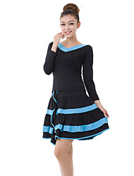 Dancewear Viscose Latin Dance Outfits Top and Skirt For Ladies More Colors