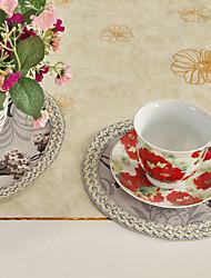 Ensemble De 6 Dessous de rattache Gris Polyester Imprimer floral