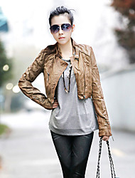 Fashion Collection Rivet Decor Falten PU Short Jacket