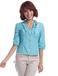 JDUO Rüschen Neck Zipper Shirt (Royal Blue)