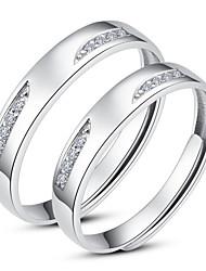 Glänzende 925 Sterling Silber Zirkonia Paare Ringe