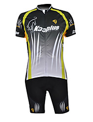 Kooplus 100% Polyester Short Sleeve Quick Dry Mens Cycling Suits(Black And Green)