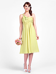 Knee-length Chiffon Bridesmaid Dress - Lime Green Apple/Hourglass/Inverted Triangle/Pear/Rectangle/Plus Sizes/Petite/Misses