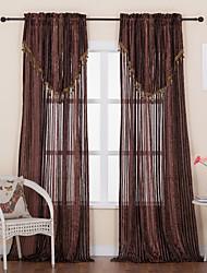 Designer-zwei Platten Streifen braun Esszimmer Polyester Gardinen Schattierungen