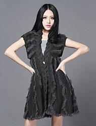 Short Sleeve Collarless Sweater/Rabbit Fur Casual/Party Coat(More Colors)