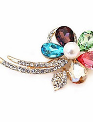 Crystal Flower Diamond-Studded Shining Brooch
