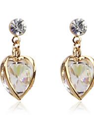 Charming Alloy Crystal Heart-shaped Earrings