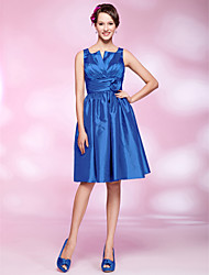 Cocktail Party Dress - Royal Blue Plus Sizes / Petite A-line / Princess Straps / Notched Knee-length Taffeta