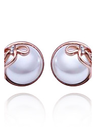 Einzigartige Platinum / Rose Gold Plated Round Pearl Earrings (mehr Farben)