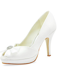 Satin Stiletto Heel Peep Toe With Bowknot Wedding Shoes (More Colors)