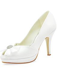 Satin Pfennigabsatz Peep Toe mit bowknot Hochzeit Schuhe (weitere Farben)