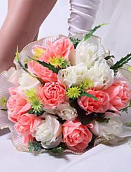 Hübsche runde Form Pink & White Satin Rose Hochzeit Brautstrauß