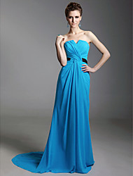 Formal Evening Dress - Pool Plus Sizes / Petite Sheath/Column Notched / Strapless Sweep/Brush Train Chiffon / Stretch Satin