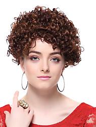 Capless 100% Human Hair Brown Short Curly Hair Wigs
