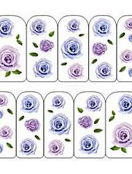6PCS Water Transfer Printing Colorful Nail Stickers Cartoon Plant