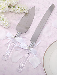 Stainless Steel Serving Sets Classic Theme Rhinestones White Bow Gift Box