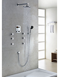 Contemporary Thermostatic Chrome Finish LED Digital Display 8 inch Round Showerhead + Handshower