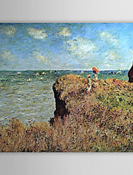 Famous Oil Painting A Cliff Walk, Pourville by Claude Monet