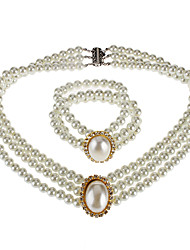 Oval Pearl Bracelet Necklace Set