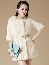3/4 Sleeve Collarless Rabbit Fur Casual/Party Coat(More Colors)
