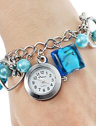 Damen Modeuhr Quartz Edelstahl Band Heart Shape Blau Marke-