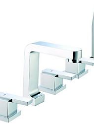 Acabamento cromado Contemporânea Três alças generalizada Com Faucet de bronze Handled Tub Shower Head