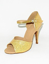 Customizable Women's Dance Shoes Latin/Ballroom Leatherette/Sparkling Glitter Stiletto Heel Gold