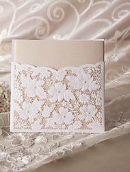 """Não personalizado Embrulhado e de Bolso Convites de casamento Cartões de convite-50 Peça/Conjunto Estilo Flôr Papel Pérola 6""""×6"""" (15*15cm)"""