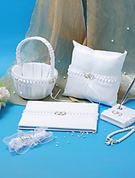 Wedding Collection Set In White Satin With Wedding Ring Accent (5 Pieces)