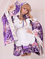 Long Sleeve Short Purple Floral Satin Cosplay Wa Lolita Dress with Apron